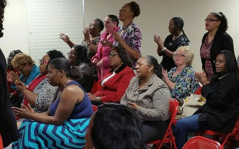 Members at bible study at the City of Refuge Christian Center.